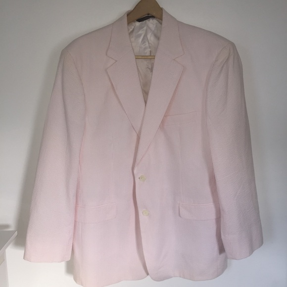 Brooks Brothers Suits Blazers 346 Pink Seersucker Jacket44r